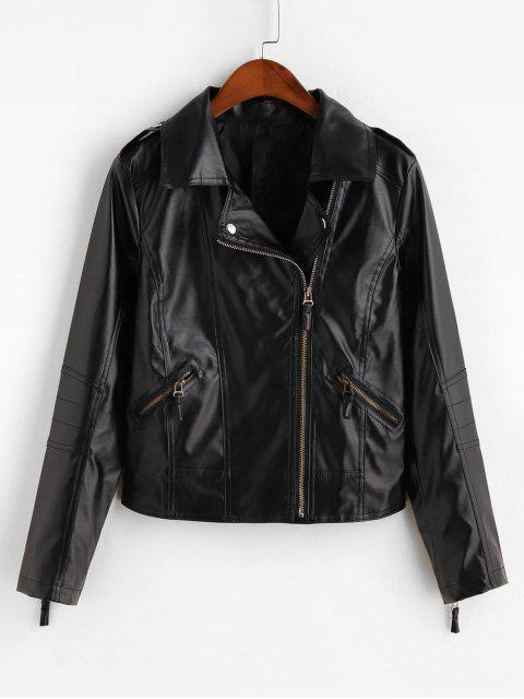 sale Asymmetric Zipper Faux Leather Pockets Jacket - BLACK M Mobile