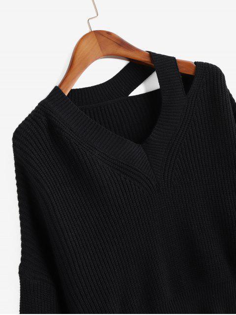 落肩V領切出毛衣 - 黑色 One Size Mobile