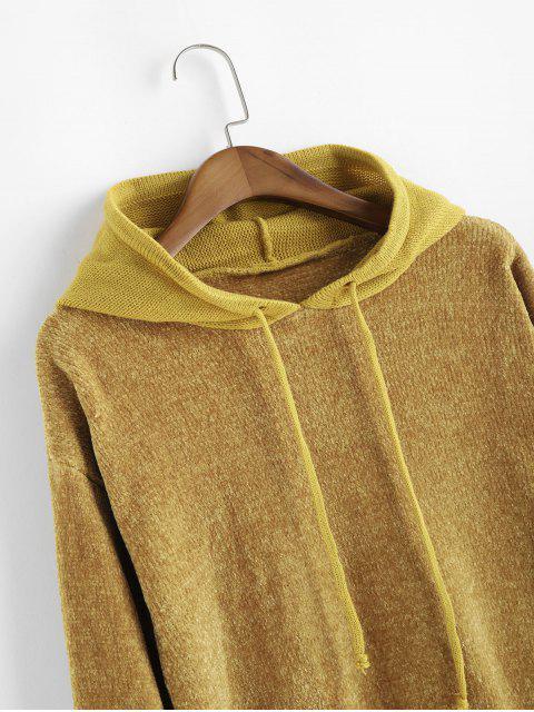 Kordelzug Kapuze Chenille Pullover - Gelb Eine Größe Mobile