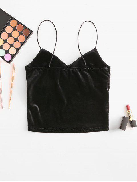 加厚天鵝絨作物卡米熱門 - 黑色 One Size Mobile