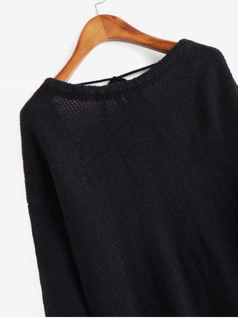重疊反綁固體毛衣 - 黑色 L Mobile