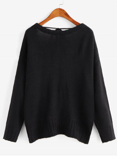fashion Overlap Back Tied Solid Sweater - BLACK XL Mobile