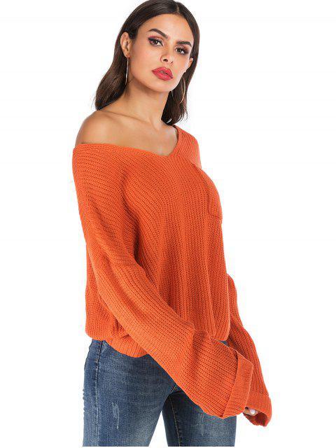 Solides Pullover mit V Ausschnitt und Bündchen - Orange S Mobile