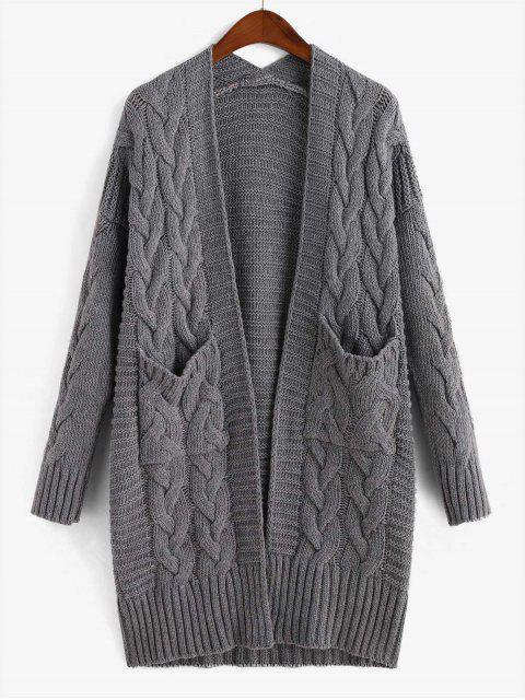 打開前麻花針織雙口袋外套 - 灰色 One Size Mobile