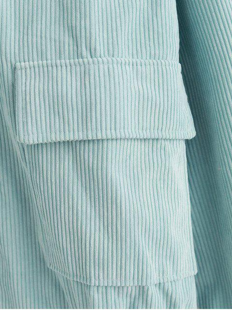 Kapuze Corduroy Flap Tasche Reißverschluss Oben Jacke - Hellblau Lilie M Mobile