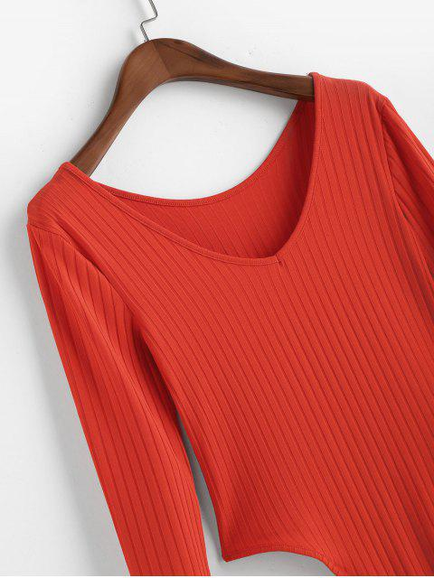 V-Ausschnitt Solide High Cut Bodysuit - Rot L Mobile
