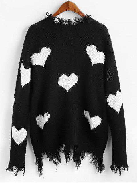 shops Heart Graphic V Neck Ripped Sweater - WHITE L Mobile