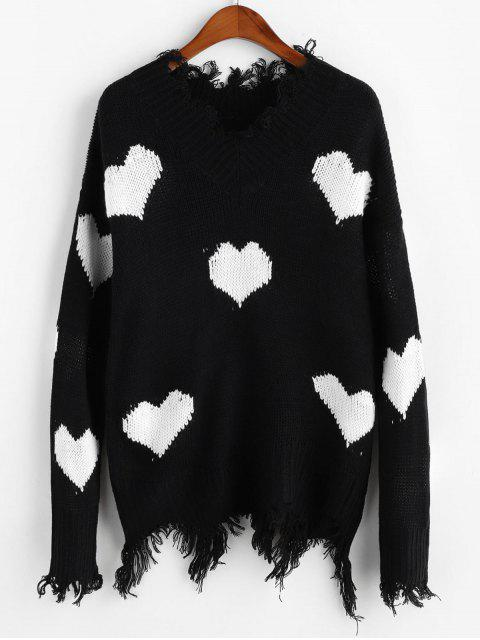 hot Heart Graphic V Neck Ripped Sweater - WHITE M Mobile