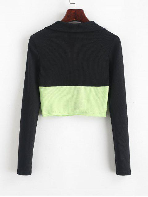 best Ribbed Zip Front Two Tone Cropped Top - BLACK M Mobile