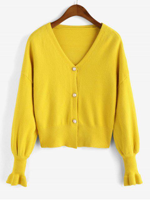 寬鬆的珠光按鈕前方V領開衫 - 黃色 One Size Mobile