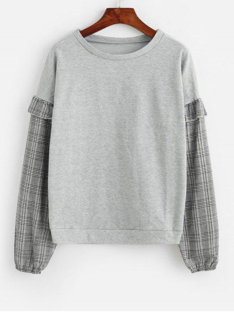 latest Plaid Ruffles Crew Neck Sweatshirt - GRAY S Mobile