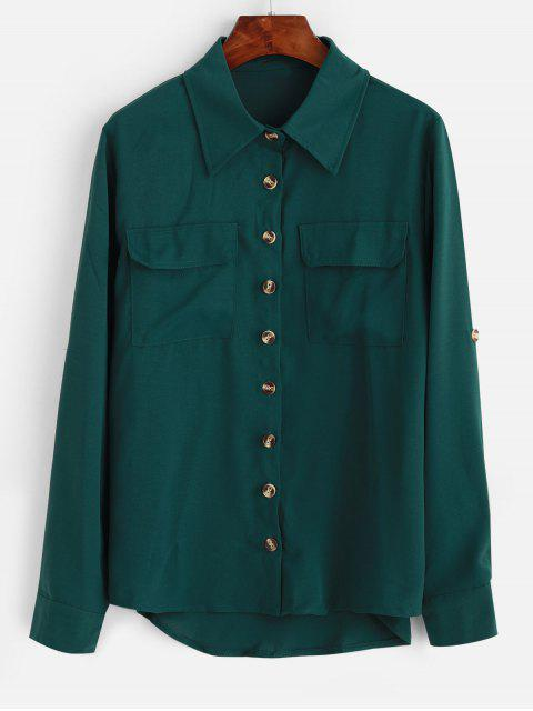 women's Rolled Tab Sleeves Pockets High Low Shirt - GREEN S Mobile