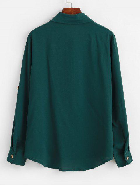 軋製標籤袖外套高低襯衫 - 綠色 M Mobile