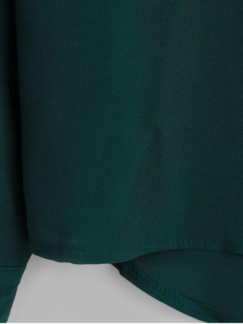 women's Rolled Tab Sleeves Pockets High Low Shirt - GREEN L Mobile
