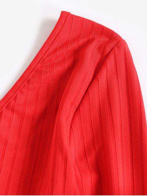 women V Neck Ribbed Solid Crop Tee - RED XL Mobile