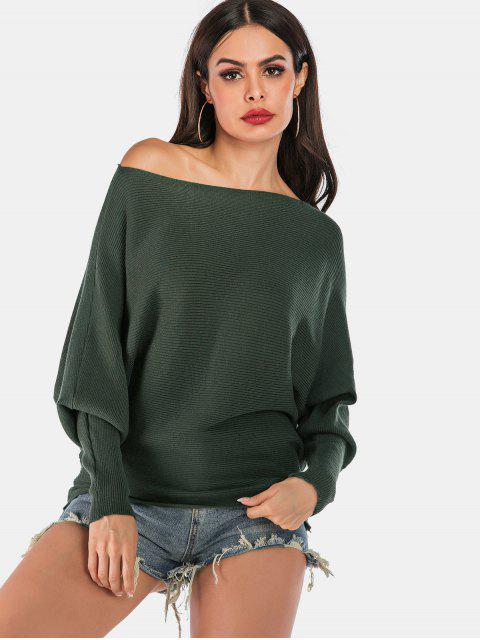 trendy Skew Neck Dolman Sleeves Solid Sweater - ARMY GREEN L Mobile