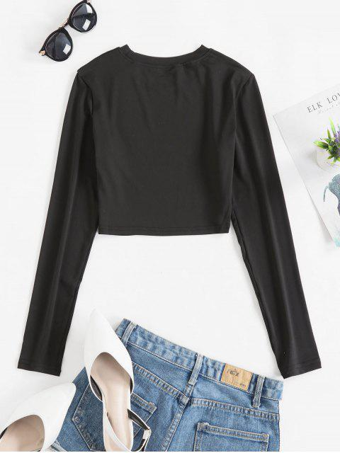 womens Long Sleeves Crop Solid Basic Tee - BLACK XL Mobile