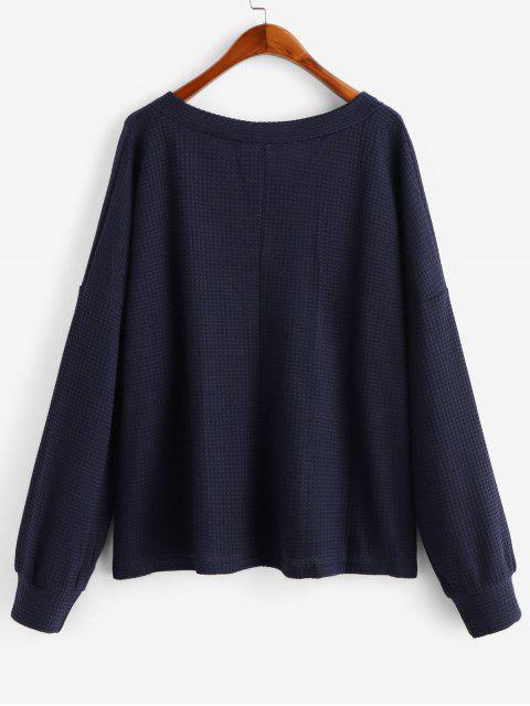 fancy V Neck Solid Long Sleeves Tee - DEEP BLUE M Mobile