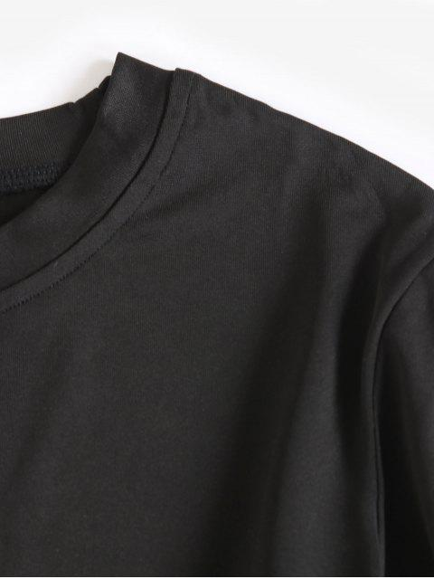women Long Sleeves Crop Solid Basic Tee - BLACK 2XL Mobile