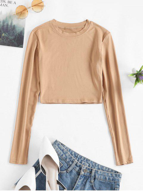latest Long Sleeves Crop Solid Basic Tee - TAN XL Mobile
