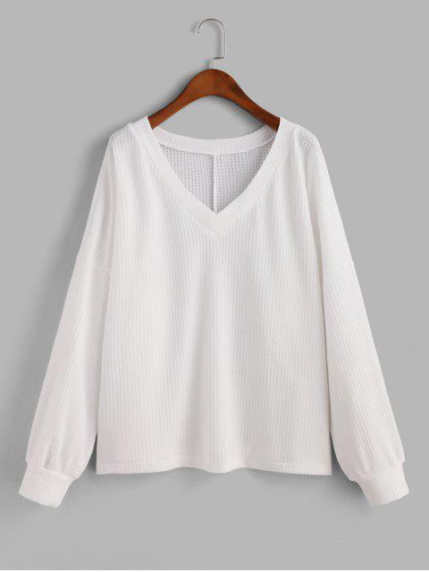 trendy V Neck Solid Long Sleeves Tee - WHITE S Mobile