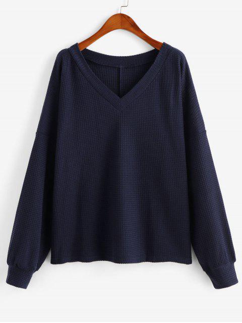 sale V Neck Solid Long Sleeves Tee - DEEP BLUE L Mobile