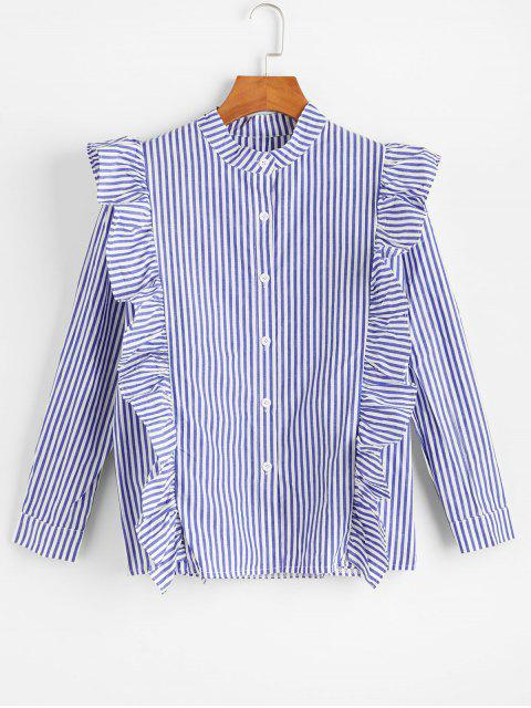 hot Flounce Pinstripe Long Sleeves Shirt - BLUE 2XL Mobile