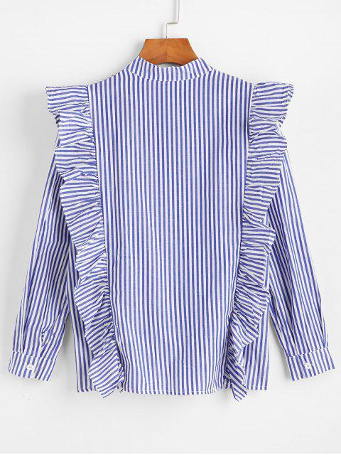 womens Flounce Pinstripe Long Sleeves Shirt - BLUE L Mobile