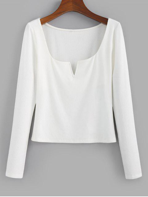 lady ZAFUL V Notched Ribbed Crop T-shirt - WHITE S Mobile