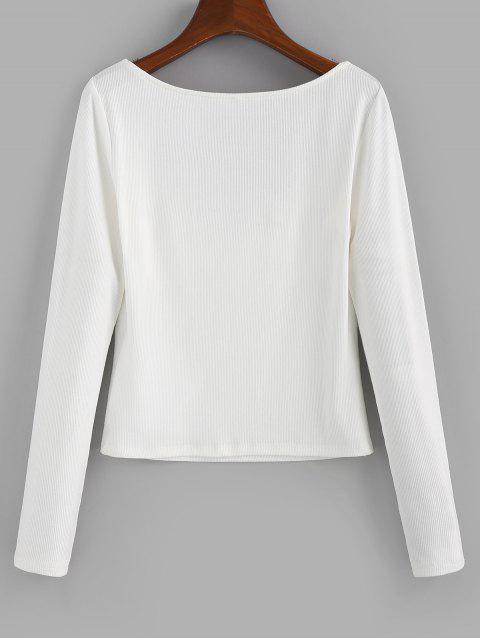 shop ZAFUL V Notched Ribbed Crop T-shirt - WHITE L Mobile