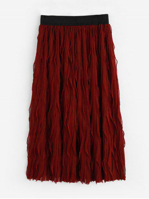 Falda en a Cintura Alta Plisada - Vino Tinto S Mobile