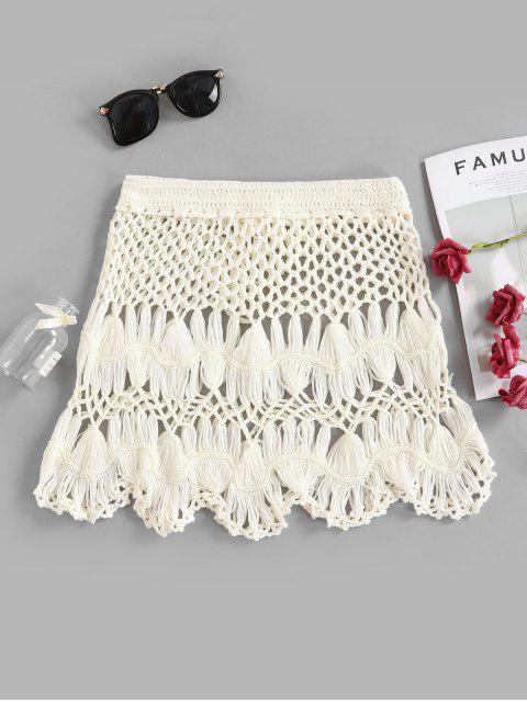 hot Scalloped Edge Crochet Skirt - WHITE M Mobile