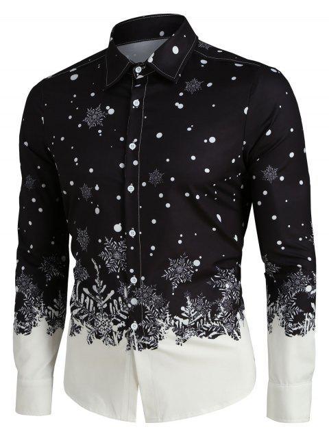 Christmas Snowflake Print Long Sleeve Button Up Shirt - ブラック L Mobile