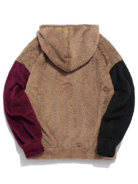 shops ZAFUL Color-blocking Splicing Fuzzy Pullover Hoodie - CAMEL BROWN L Mobile