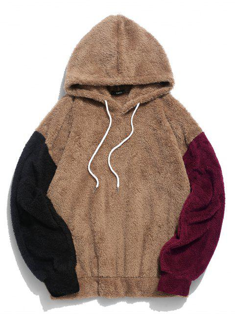 buy ZAFUL Color-blocking Splicing Fuzzy Pullover Hoodie - CAMEL BROWN 2XL Mobile