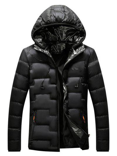 Quilted Hooded Padded Jacket With Earphone - Black L