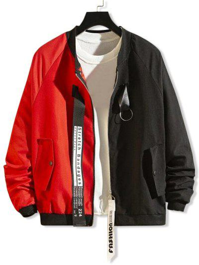 Ring Ribbon Letter Graphic Two Tone Spliced Jacket - Red Xl