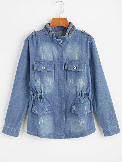 Zip Up Denim Jacket - Denim Blue S