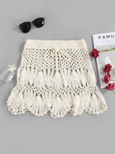 Scalloped Edge Crochet Skirt - White S