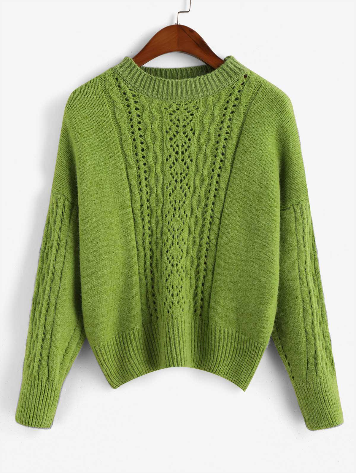 Pullover Pointelle Knit Crew Neck Cable Knit Sweater thumbnail