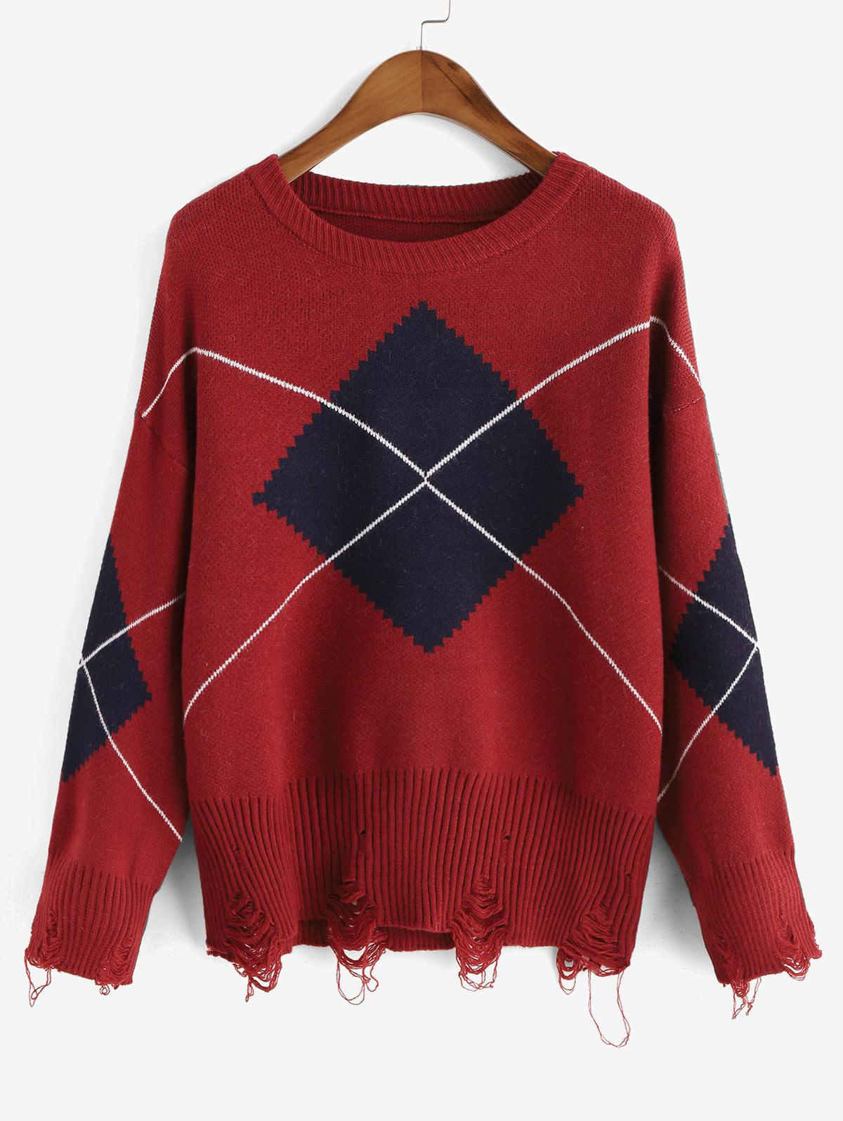 Crew Neck Distressed Geometric Graphic Sweater