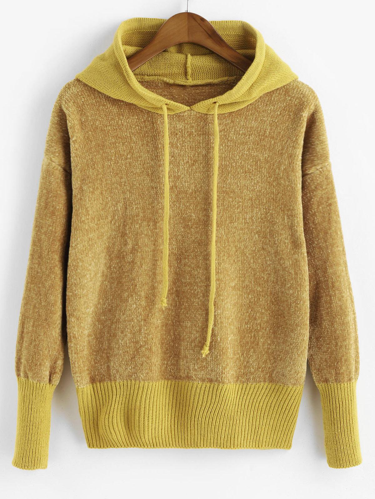 Drawstring Hooded Chenille Sweater