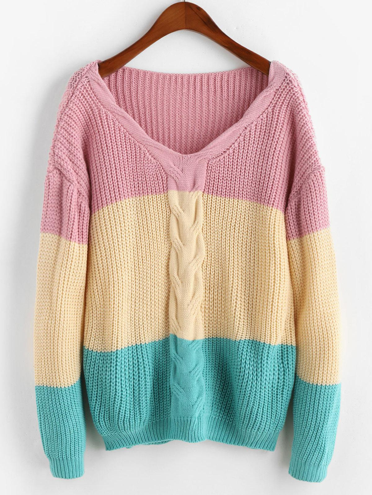 V Neck Cable Knit Colorblock Sweater