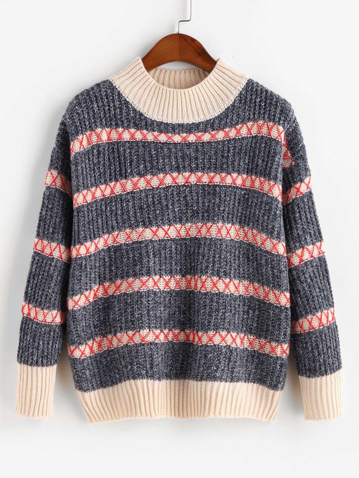 Mock Neck Drop Shoulder Heathered Stripes Sweater