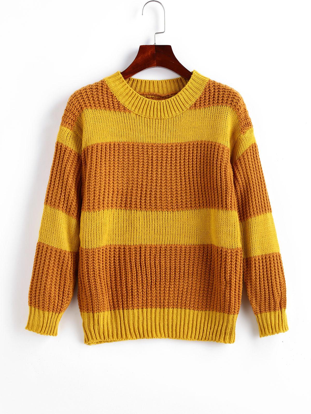Crew Neck Colorblock Stripes Jumper Sweater