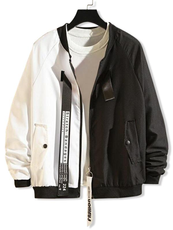 Ring Ribbon Letter Graphic Two Tone Spliced Jacket, White