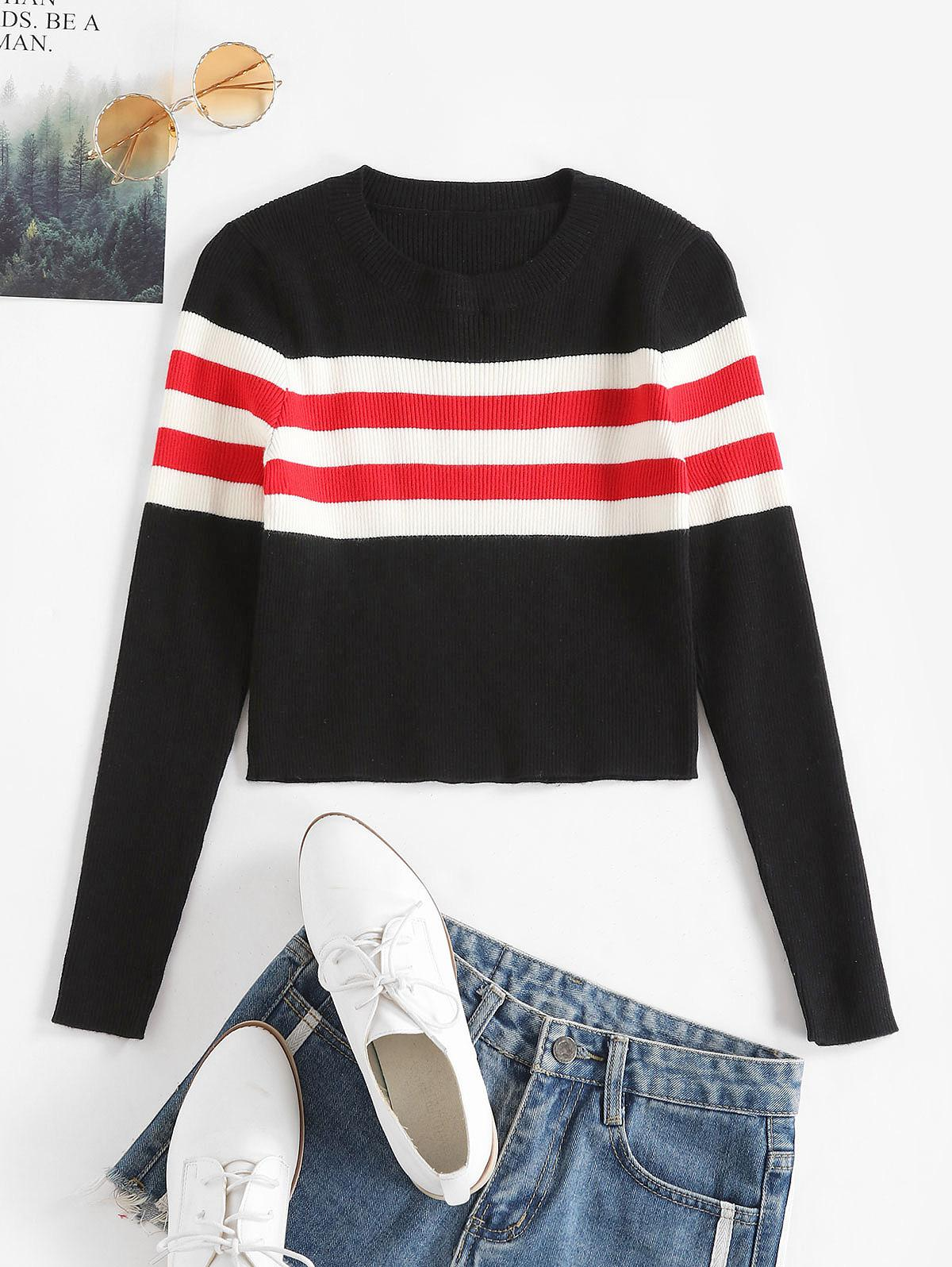 Contrast Striped Ribbed Crop Sweater фото