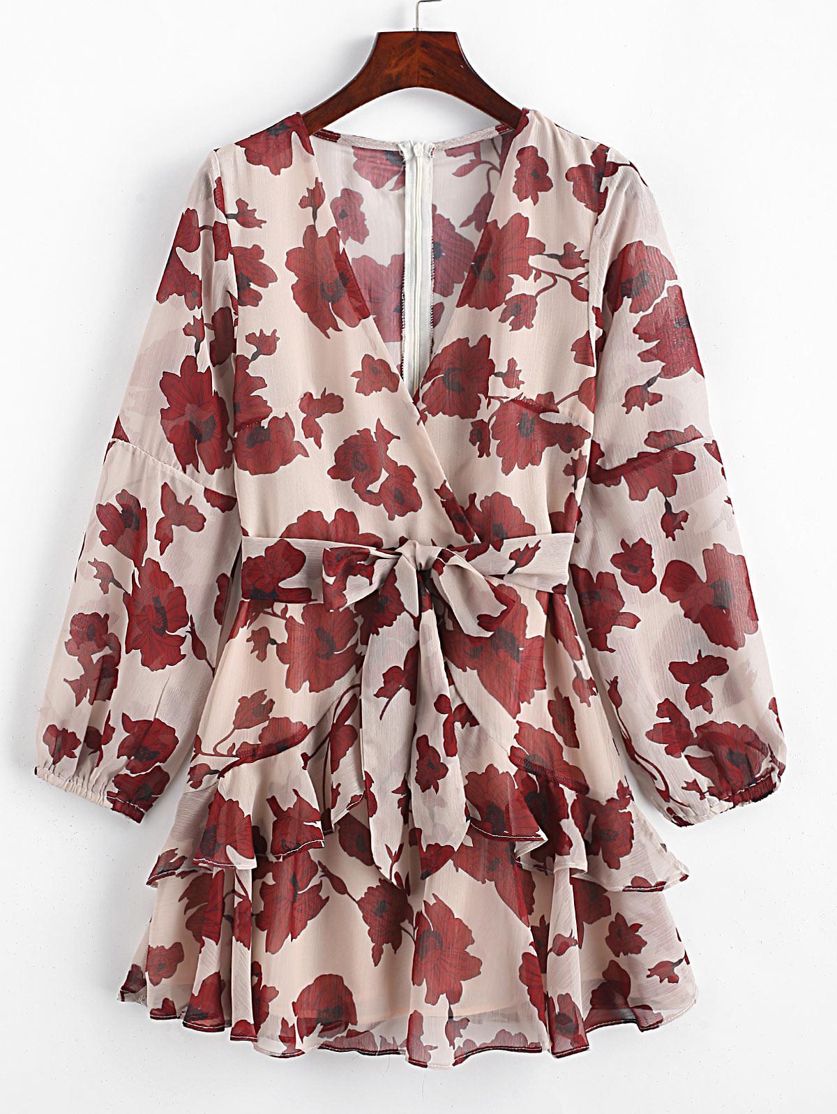 Long Sleeve Tie Waist Ruffles Floral Dress фото