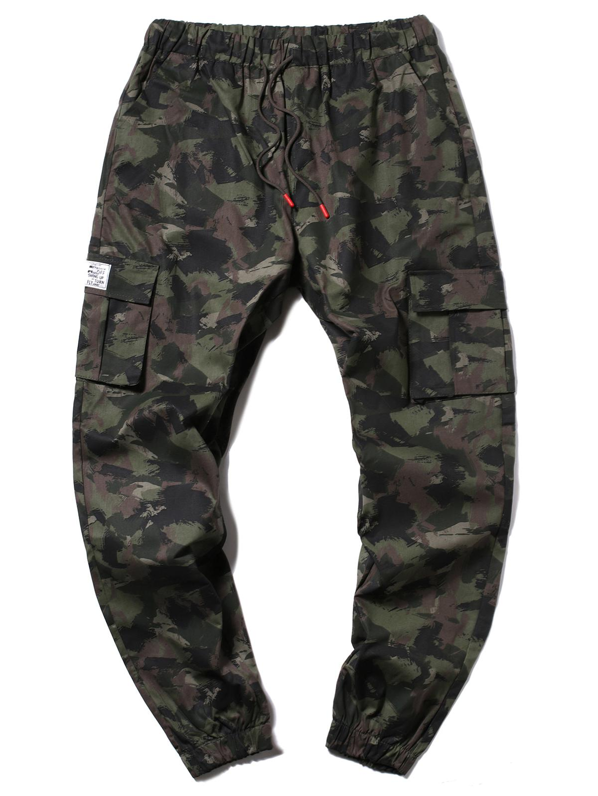Camouflage Multi-Pocket Drawstring Cargo Jogger Pants, Army green