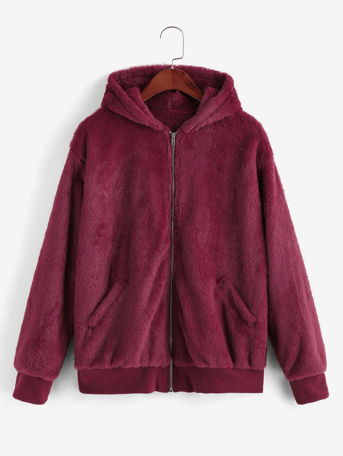 Hooded Faux Fur Zip Pocket Fluffy Jacket